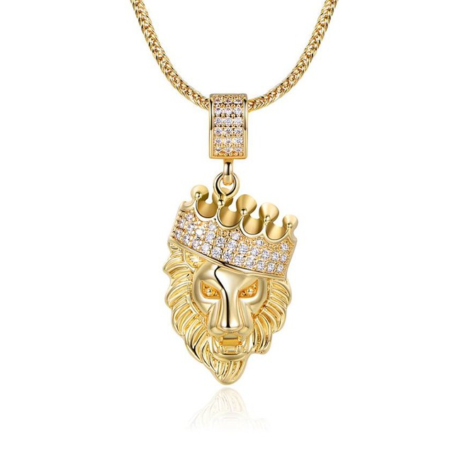18K Gold-Plated Lion Head Pendant in FoxTailChain Necklace