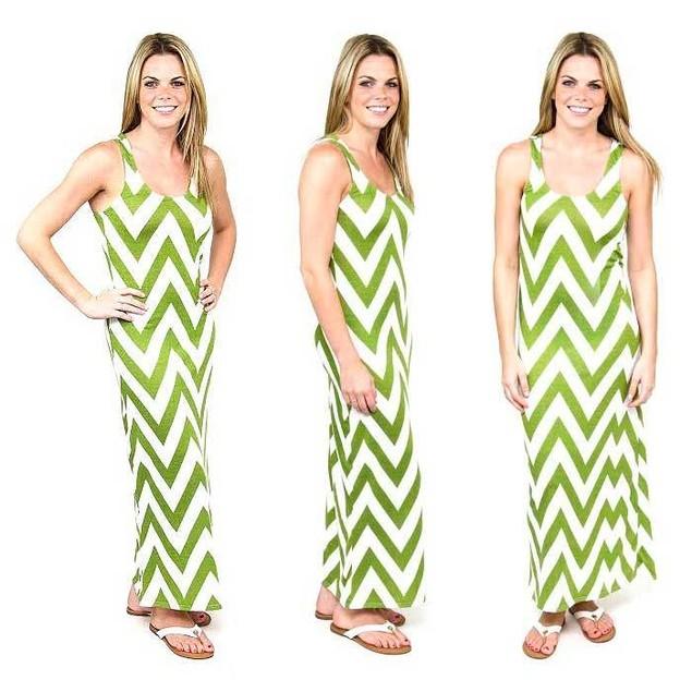 Chevron Racerback Maxi Dress- 6 Colors Available