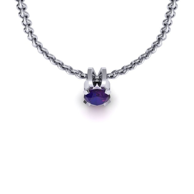 1.29cttw Oval-Cut Amethyst Necklace & Earring Set In Sterling Silver