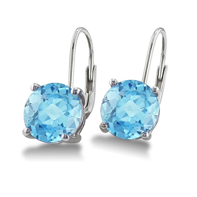 Leverback 5ct Blue Topaz Earrings in Sterling Silver