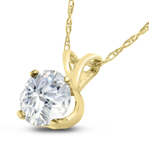 14k Yellow Gold 3/4 Carat Genuine Diamond Solitaire Necklace