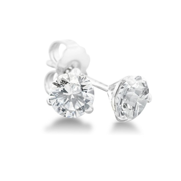 1/2ct Natural Genuine Diamond Stud Earrings In Martini Settling, 14 Karat White Gold