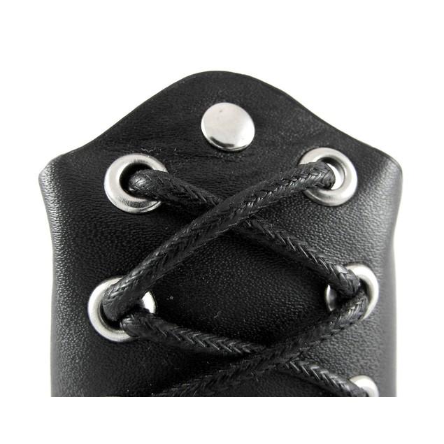 Pair Of Black Vinyl Lace-Up Gauntlet Wristbands Gauntlet