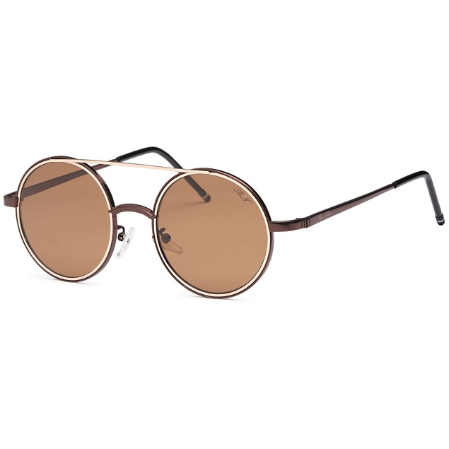 Rounded Double Bridge Retro Brown Sunglasses