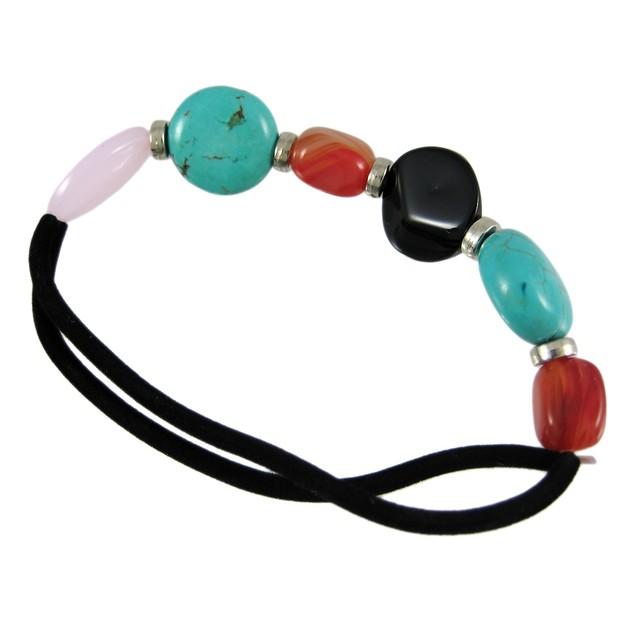 Turquoise And Agate Bead Nylon Stretch Bracelet Womens Bracelets