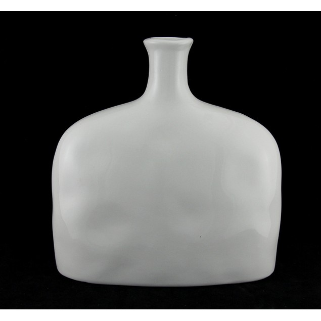 White Ceramic 9 Inch Bottle Vase W/ Navy Blue Decorative Vases