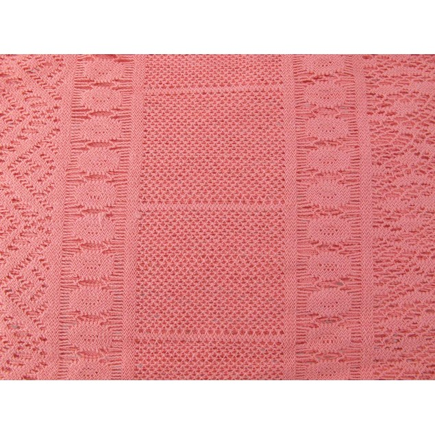 Salmon Pink Crochet Lace Scarf Shawl 70 In. X 19 Womens Fashion Scarves