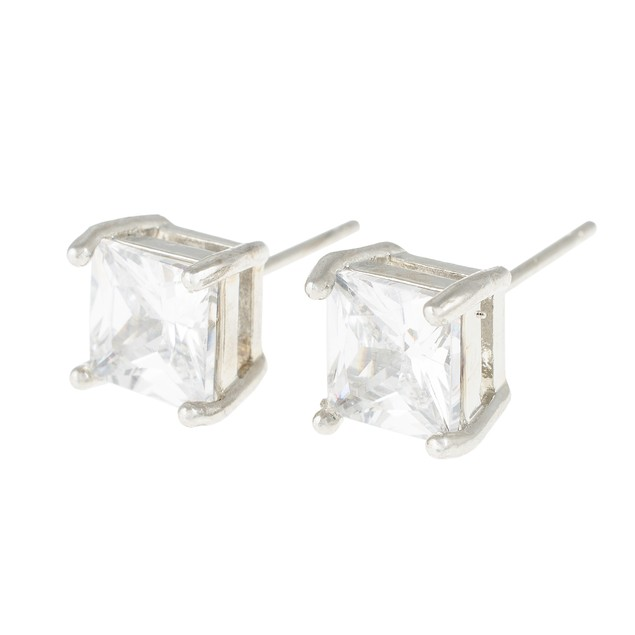 2-Pack White Gold Round And Square Stud Earrings