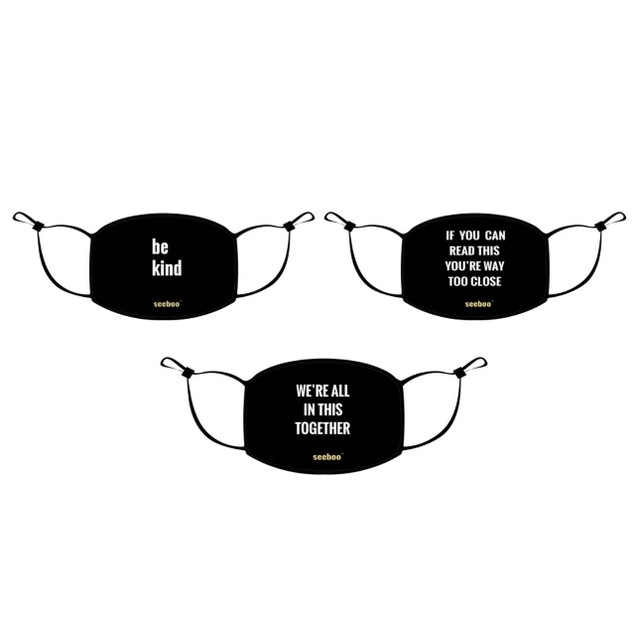 Double Layer Washable & Reusable Mask Message w/ Adjustable Loop (3 -Pack)