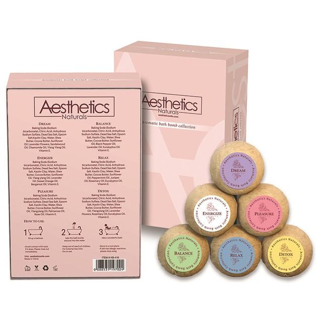 Aesthetics Naturals 6-Piece Bath Bomb Gift Set