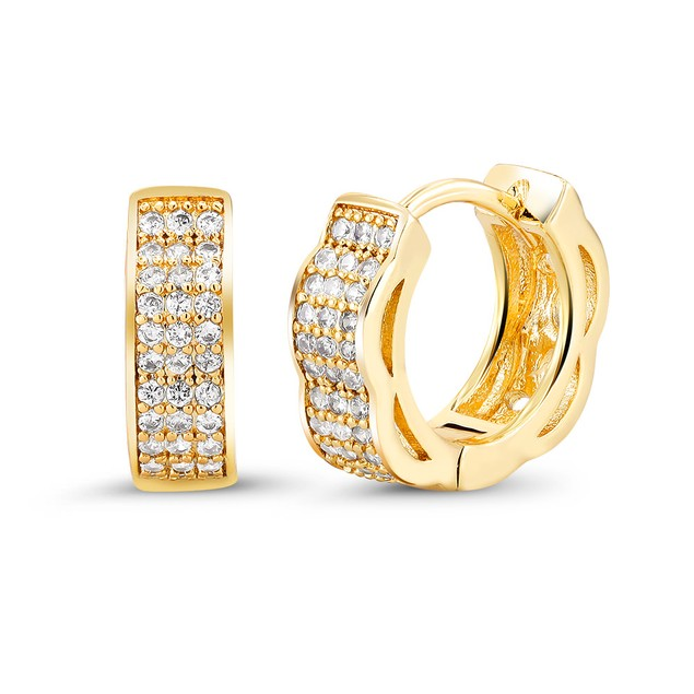 18kt Yellow Faded Goldtone Cubic zirconia  Huggie Earrings