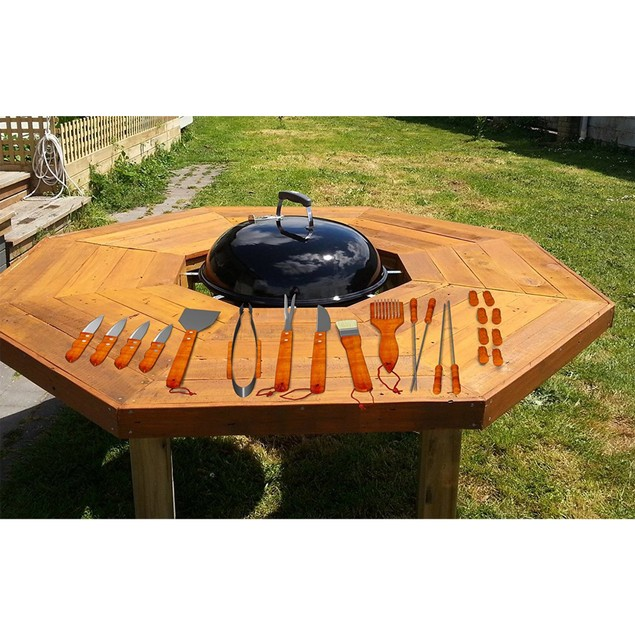 Wood BBQ Grill Tool Set- Stainless Steel Barbecue Accessories