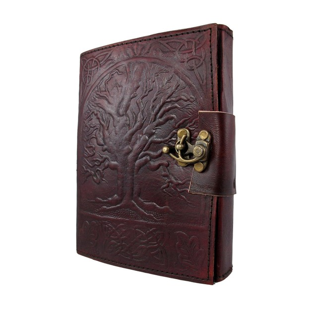 Embossed Leather Tree Of Life 120 Page Unlined Dream Book Journal w/ Lock