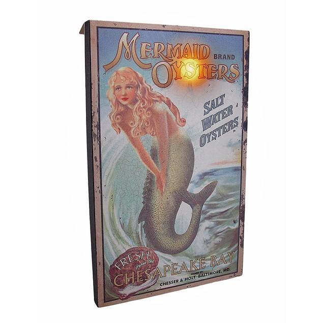 Mermaid Brand Oysters Led Lighted Vintage Style Prints