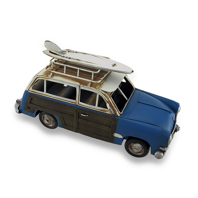 Beach Bound Blue And Brown Nostalgic Metal Woodie Statues