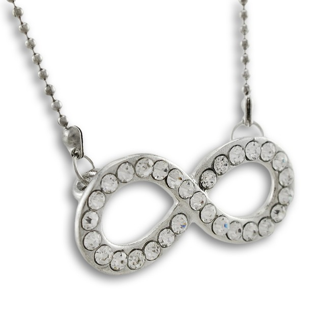 Rhinestone Encrusted Infinity Symbol Pendant W/ Chain Necklaces