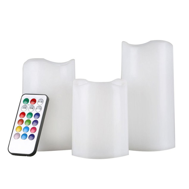 3-Pack Color-Changing LED Flameless Candles with Remote