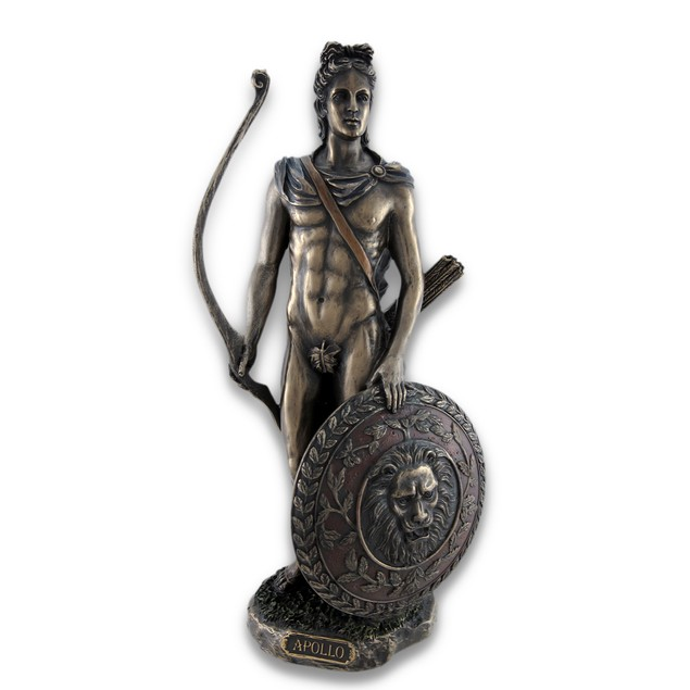 Roman/Greek God Apollo With Shield And Bow Bronzed Statues