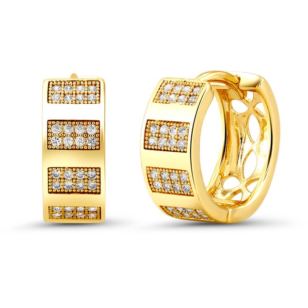 18kt Yellow lined Goldtone Cubic zirconia  Huggie Earrings