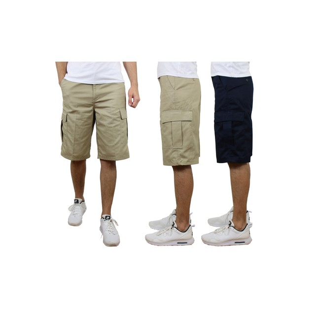 2-Pack Men's Non-Belted Premium Cotton Blend Cargo Shorts (Sizes, 30-42)