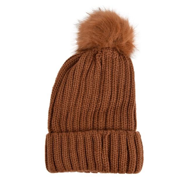 Ladies Knit Pom Pom Winter Hat