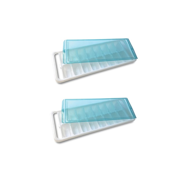 Ice Cube Tray with Easy Silicone Bottom For Removal or with Lid