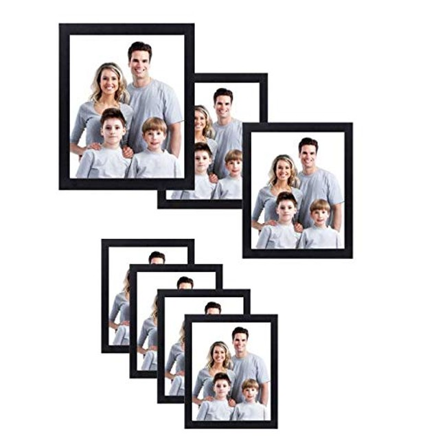 Nuvita 7-Piece Black Photo Frame Wall Kit with Decorative Hanging Template