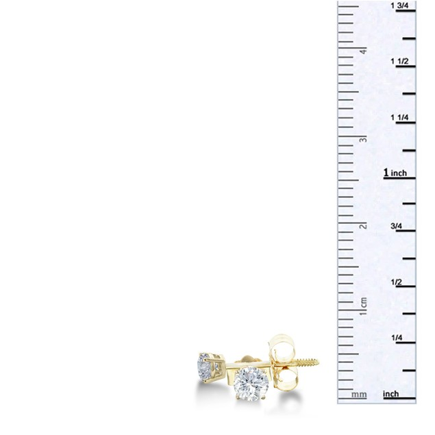 14k Yellow Gold 1/3 Carat Genuine Diamond Stud Earrings