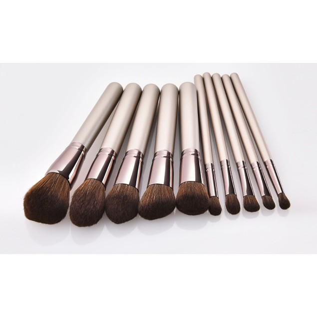 Metallic Bronze Blushing Bright Makeup Brushes (10-Piece)