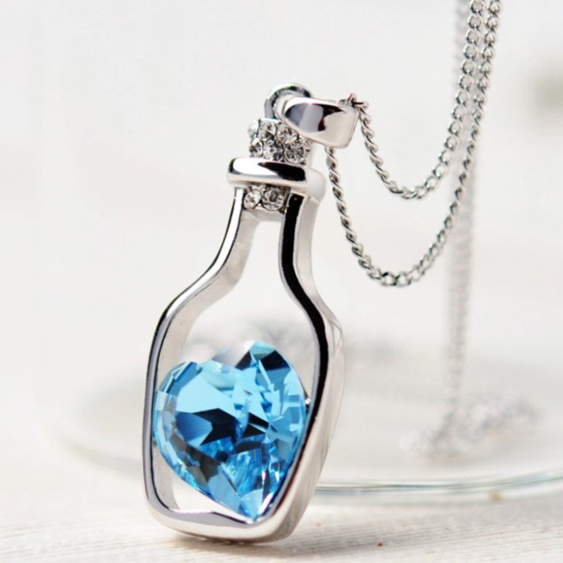 Blue Heart in a Bottle Necklace