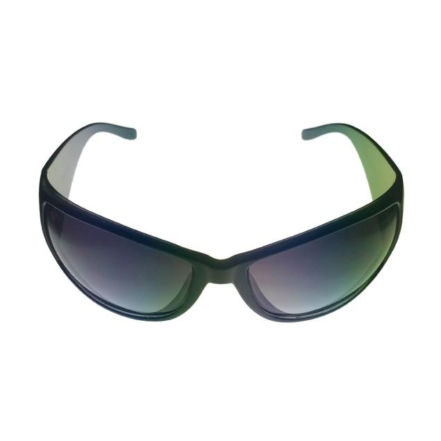 Levi Sunglass LS124 1 Black Plastic Rectangle Wrap, Green Gradient Lens