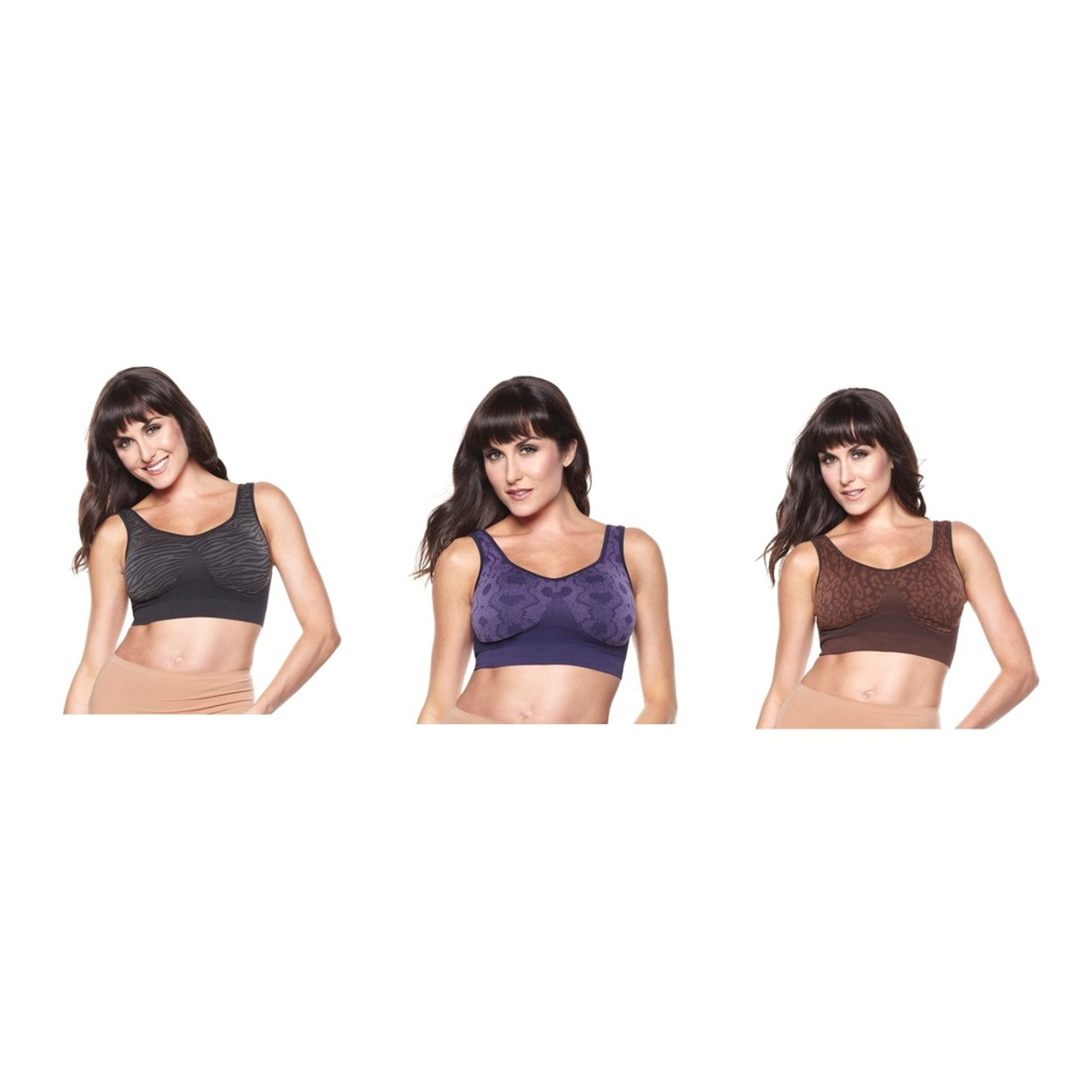 c15f86ce16d6b Rhonda Shear 3-Pack  Ahh Bras with 1 Pair of Removable Pads - Tanga