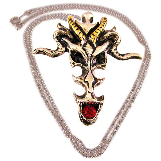 Dragon Skull Two-Tone Pendant / Necklace Talisman Womens Pendant Necklaces