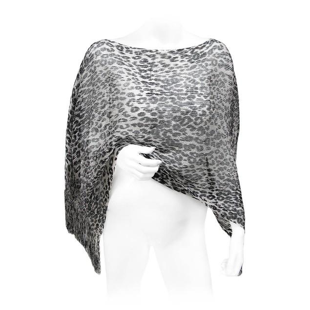 Black And Gray Metallic Leopard Print Lightweight Womens Ponchos