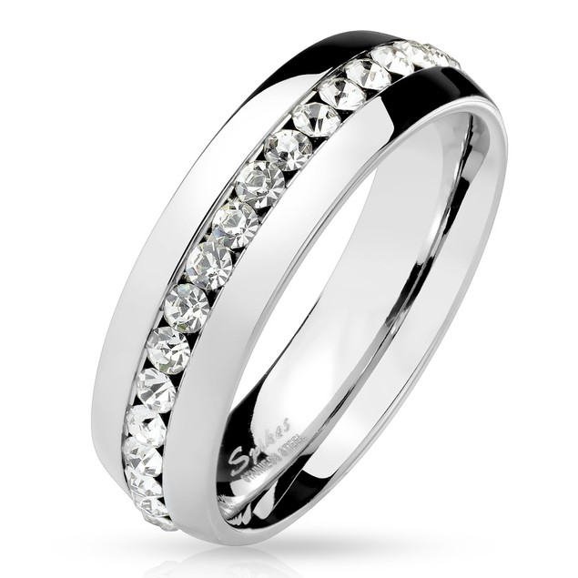 Eternity CZ Set Stainless Steel Dome Ring