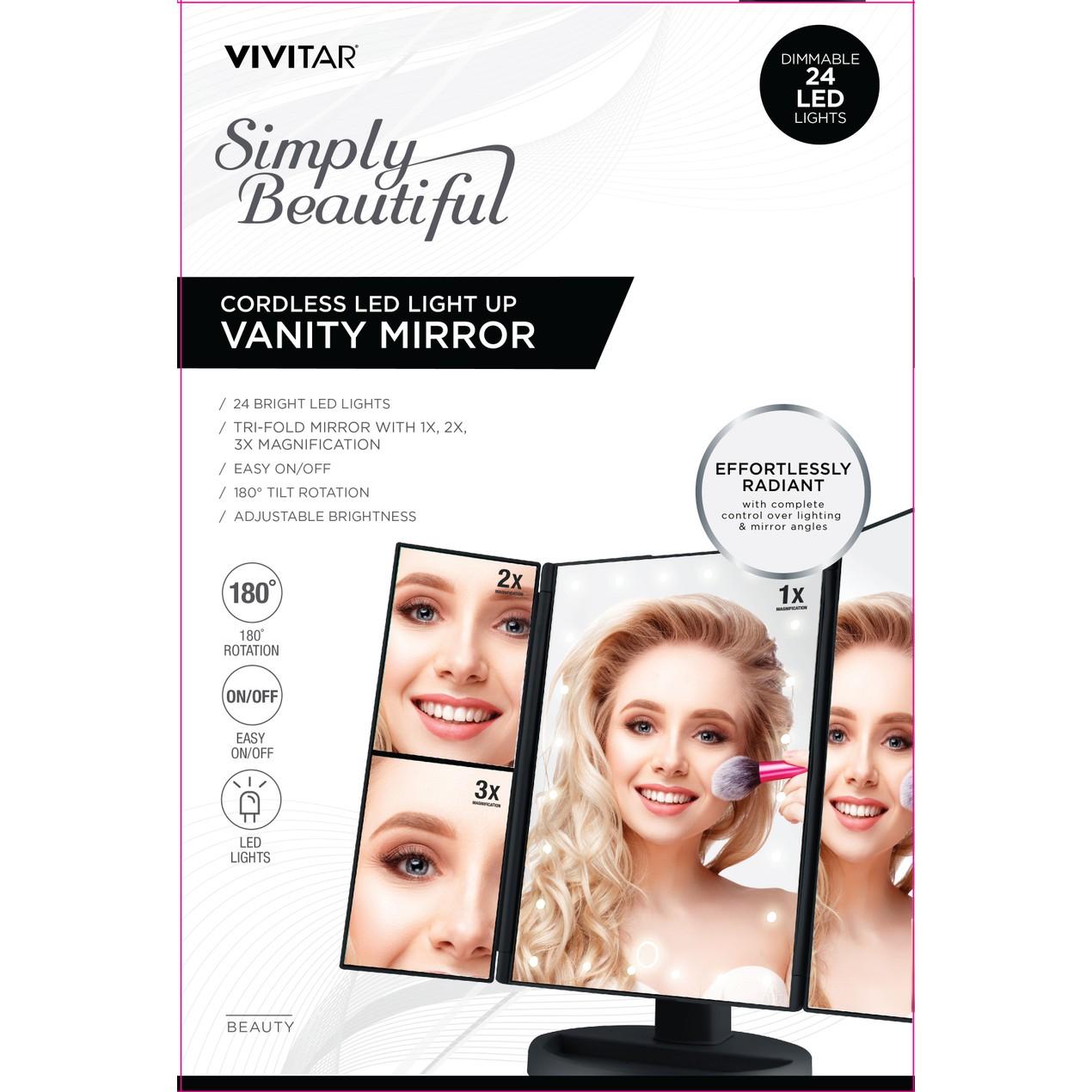 Vivitar Simply Beautiful 24 Led Light Up Trifold Mirror Tanga