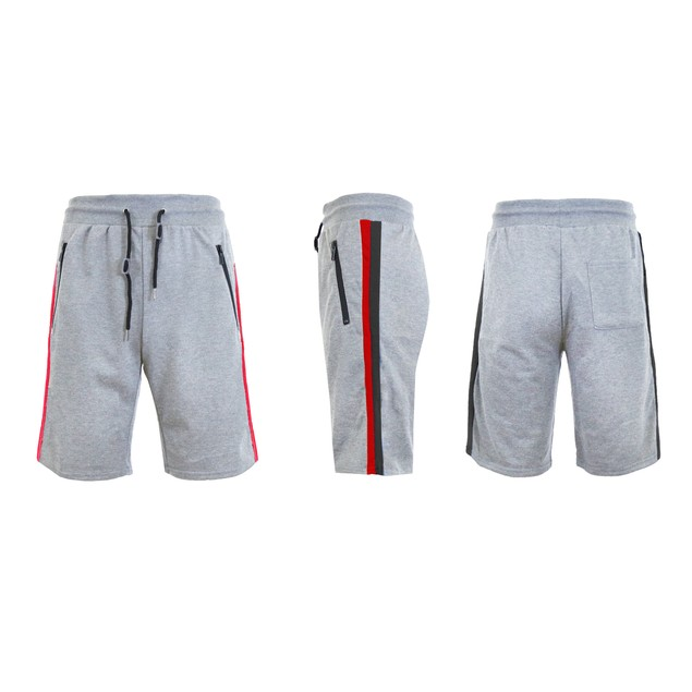 Mens French Terry Sweat Shorts W Contrast Trim & Zipper Pockets