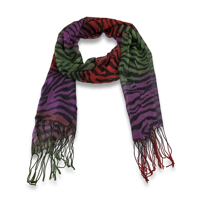 Multi-Colored Zebra Print Fashion Scarf Womens Fashion Scarves