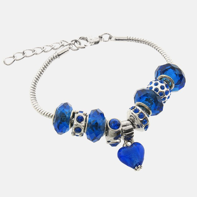 Charmed Elements Murano Glass Blue Charm Bracelet