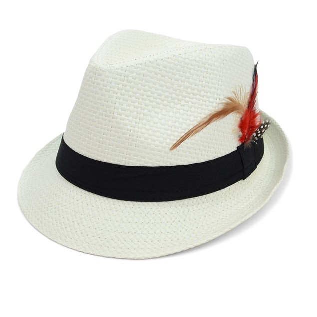 Spring/Summer Woven Fedora Hat with Feather
