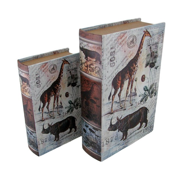Set Of 2 Animal Postcard Print Faux Leather Book Decorative Boxes