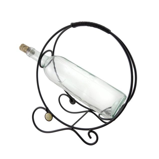 Rustic Finish Table Top Wine Holder Round Bottle Tabletop Wine Racks