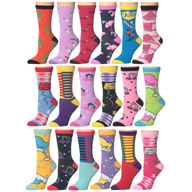 18-Pairs Frenchic Fun Printed Cotton-Blend Crew Socks