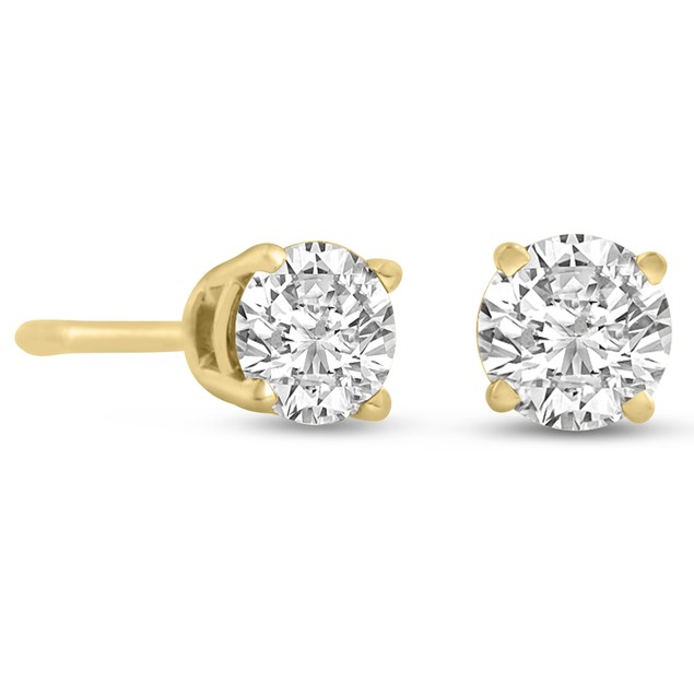 Certified 1/2ct Natural Genuine Diamond Stud Earrings In 14 Karat Yellow Gold