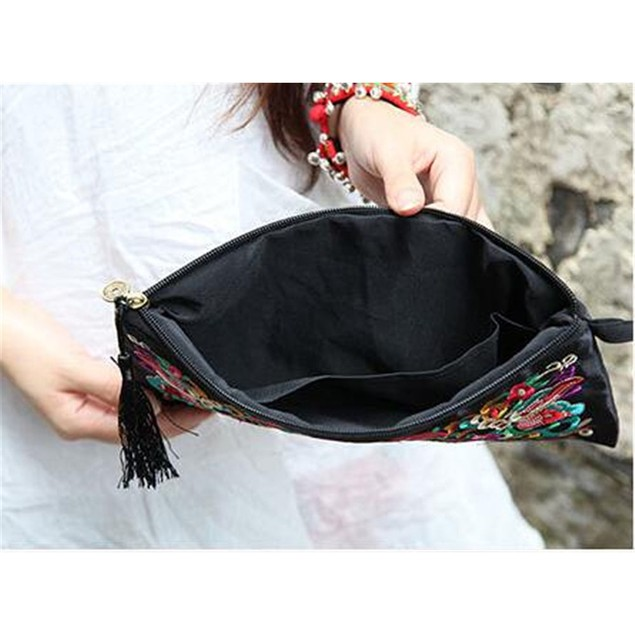 Handbag Vintage Woman Embroidery Small Bag Coin Case   galsang flower