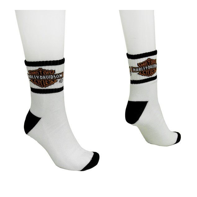 Men's Black And White Harley Davidson Logo Mens Socks