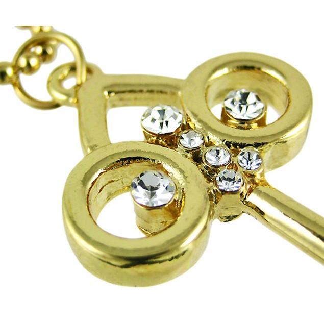 Goldtone Rhinestone Key Pendant W/ Bead Necklace Mens Pendant Necklaces