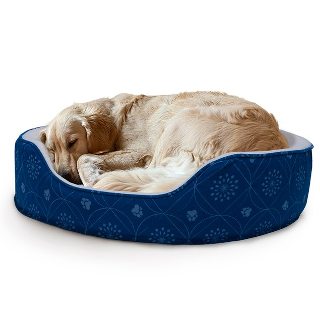 Flannel Print Oval Pet Bed