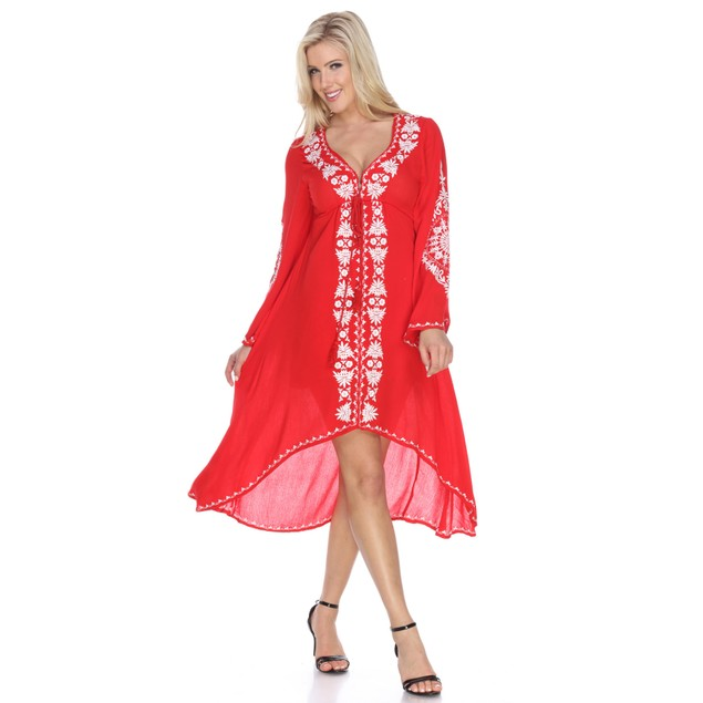 Embroidered Bohemian High Low Dress