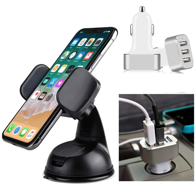 Universal Car Mount & 3-Port Car Charger